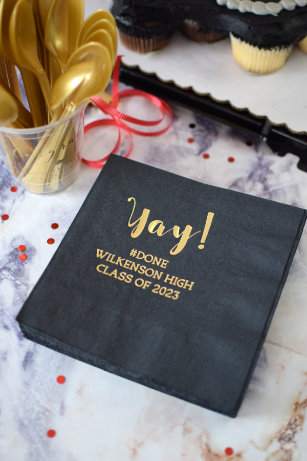 A great size for serving appetizers, finger foods, and other desserts. Personalized graduation party luncheon napkins measure 6 1/2 inches square and are custom printed with an fun graduation design and your own custom message.