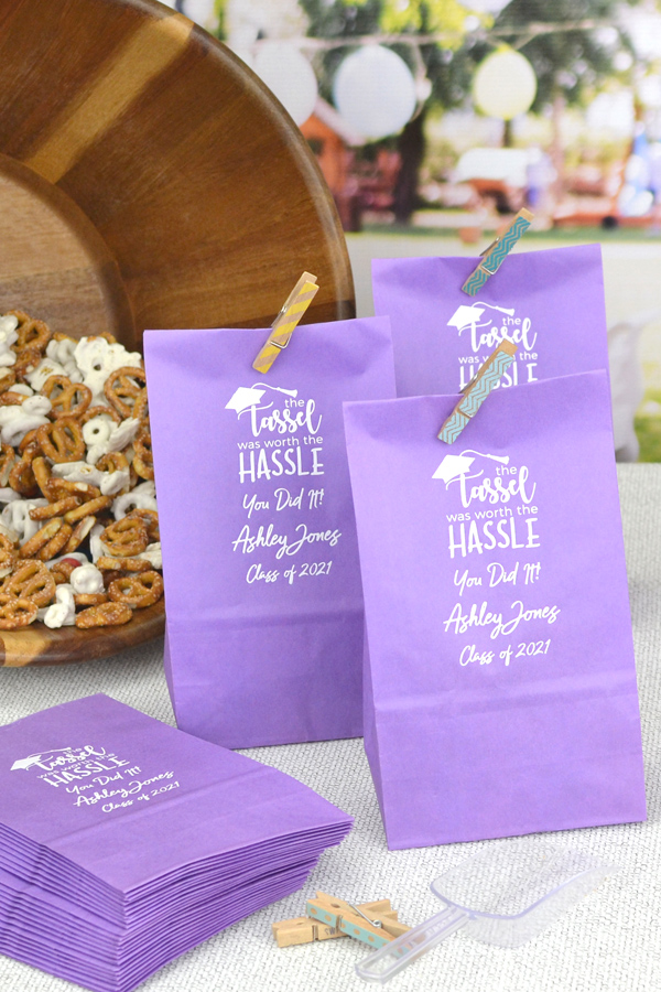 Personalized Violet Graduation Party Paper Candy Bags with White imprint, graduation design, and three lines of custom text