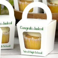 White cupcake boxes printed with Metallic Green imprint color and Marker lettering style