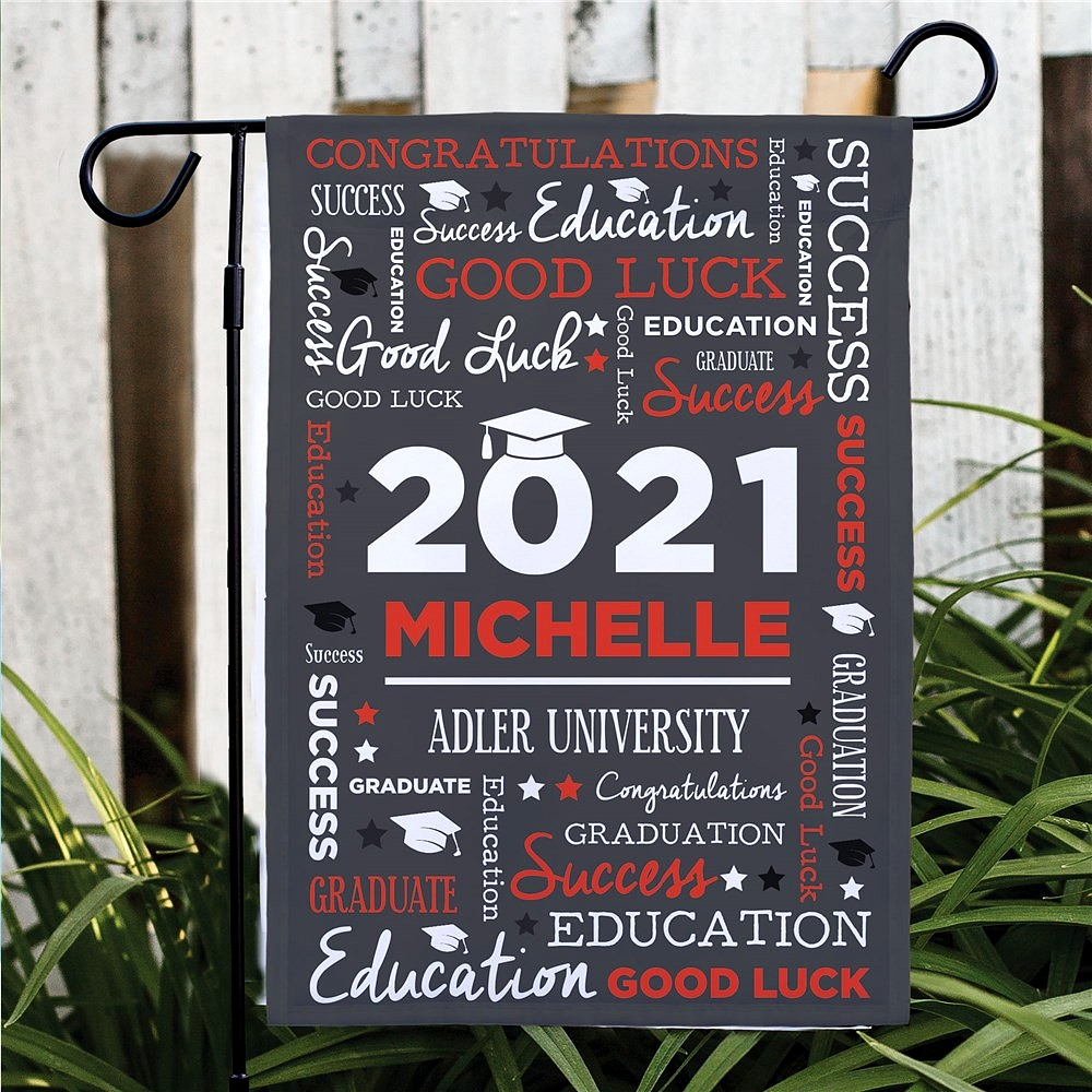 Red and white word art graduation flag personalized with graduate's name, graduation year and school name