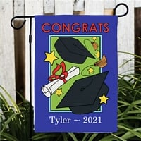 Royal blue and green background Congrats graduation garden flag with caps and diploma design personalized with graduate's name and graduation year