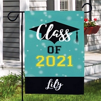 Turquoise background Party Bubbles Class of graduation garden flag personalized with graduation year and student's name