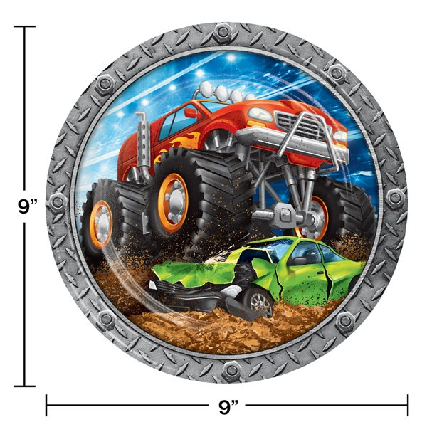 Monster Truck Rally Disposable Paper Dinner Plate Dimensions