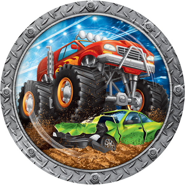 Monster Truck Rally Disposable Dinner Plate