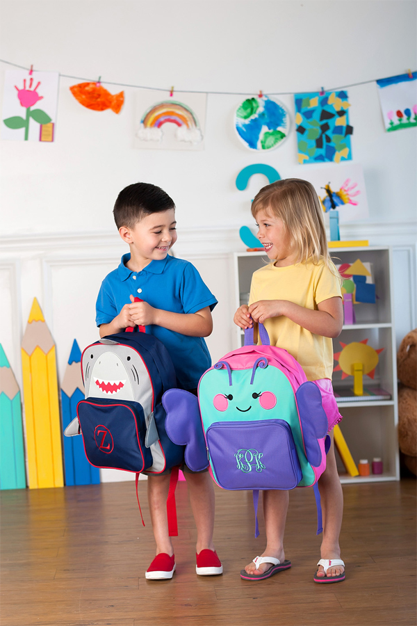 Personalized Butterfly and Shark Preschool Backpacks