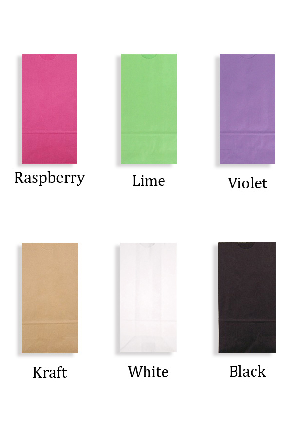Choose from assorted color options for your personalized paper party goodie bags