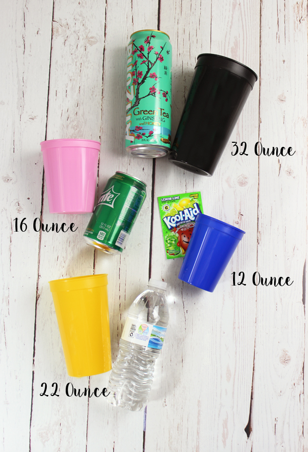 Personalized Plastic Stadium Cup Size Comparison Chart