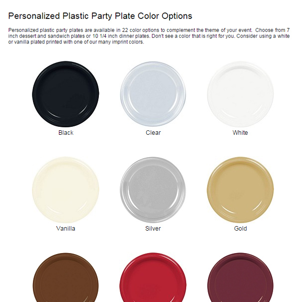 Personalized Plastic Party Plate Color Options