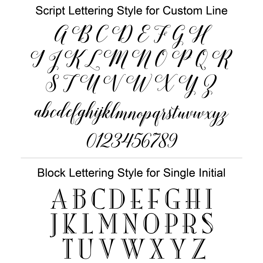 Lettering styles used for custom line or monograms