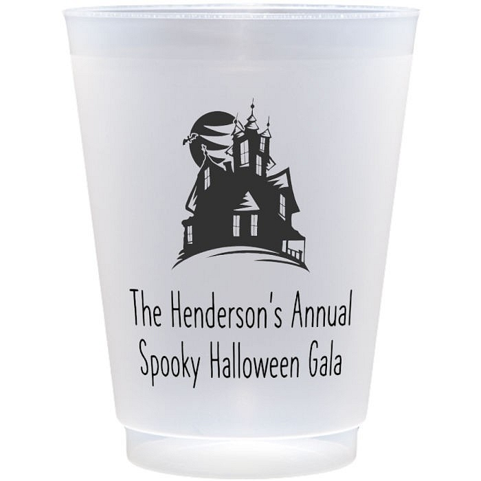 Reusable 16 Ounce frosted flex cup personalized with haunted house Halloween design and custom Halloween party greeting