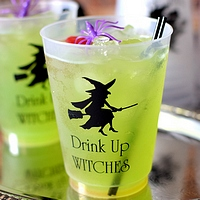 16 oz frosted plastic Halloween party cups printed with 1250 witch design, black imprint, and two lines of text in Poised lettering style