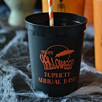 16 Oz Personalized Plastic Halloween Party Stadium Cups (Set of 25)