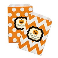 Personalized Orange Halloween Goodie Bags