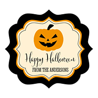 Personalized Jack-O-Lantern Halloween Favor Labels