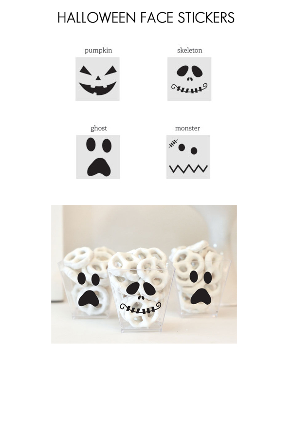 Spooky Face Halloween Favor Stickers