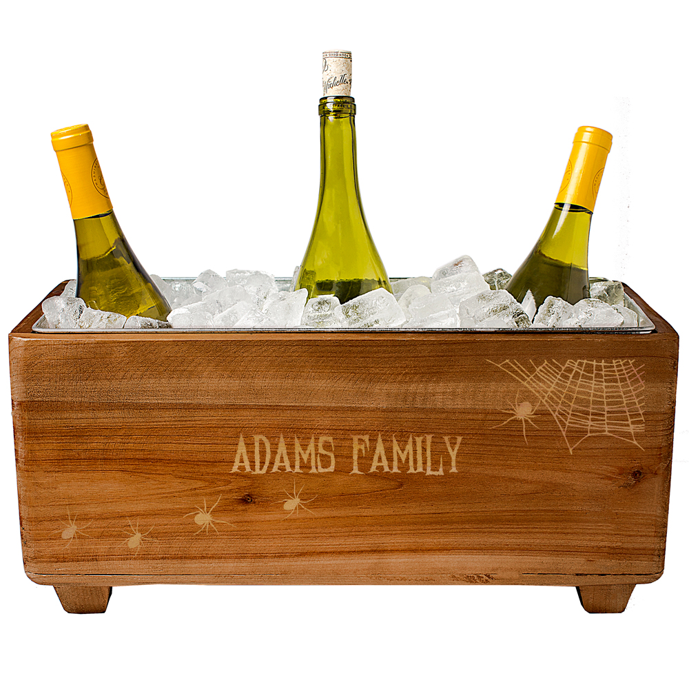 17 x 8 Personalized Halloween Rustic Wood Wine Trough Chiller