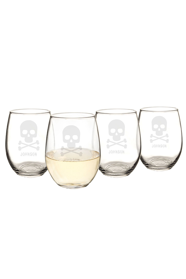 Personalized Skull & Crossbones Halloween Stemless Wine Glasses (Set of 4)