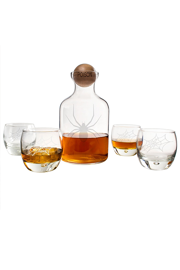 Halloween Whiskey Glass Decanter Set with Engraved Stopper
