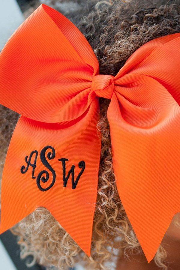 Personalized Orange Preppy Oversized Halloween Hair Bows