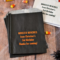 Custom Printed Halloween Party Flat Candy Bags