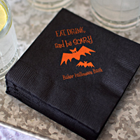 Black napkins printed with orange imprint and HA10 design with instructions to print the design between Lines 2 and 3