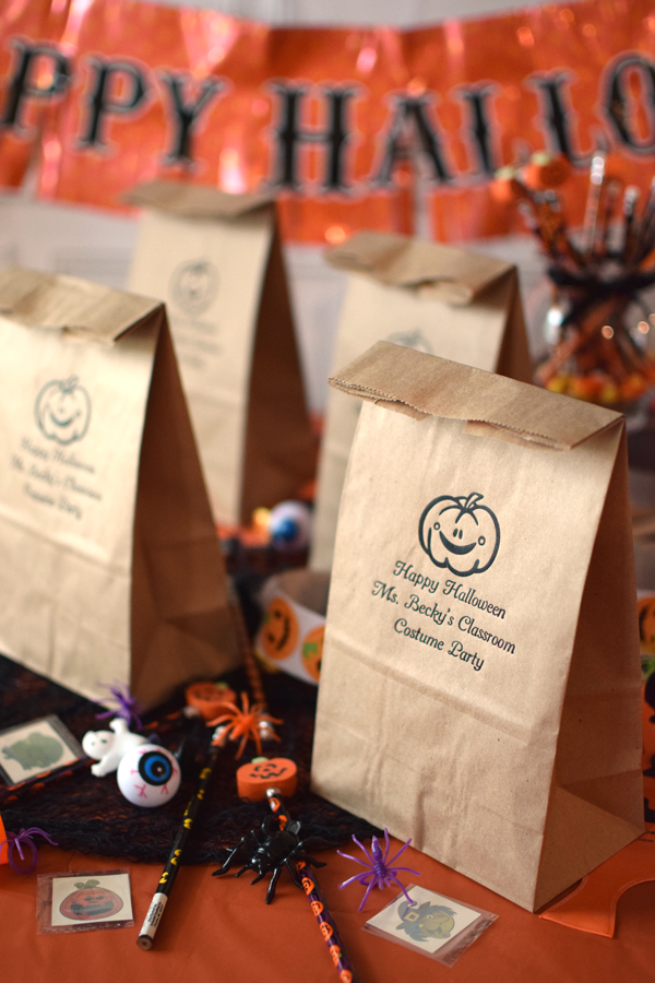 Personalized Halloween Party Paper Lunch Bags