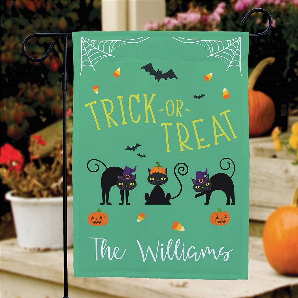 Trick Or Treat Cats Halloween garden and lawn flag outdoor decoration personalized with family name