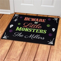 Beware Little Monsters Halloween doormat personalized with family name