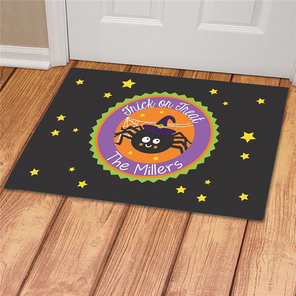 Trick Or Treat Spider Halloween doormat personalized with family name