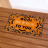 Boo To You Halloween doormat personalized with family name