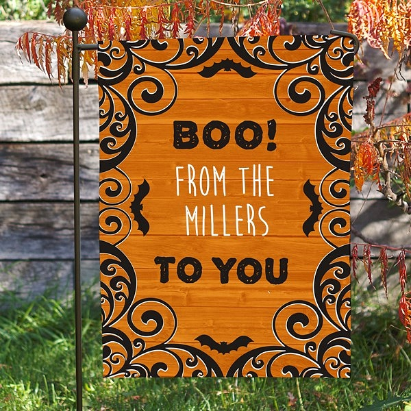 Boo To You Halloween garden flag outdoor decoration personalized with family name