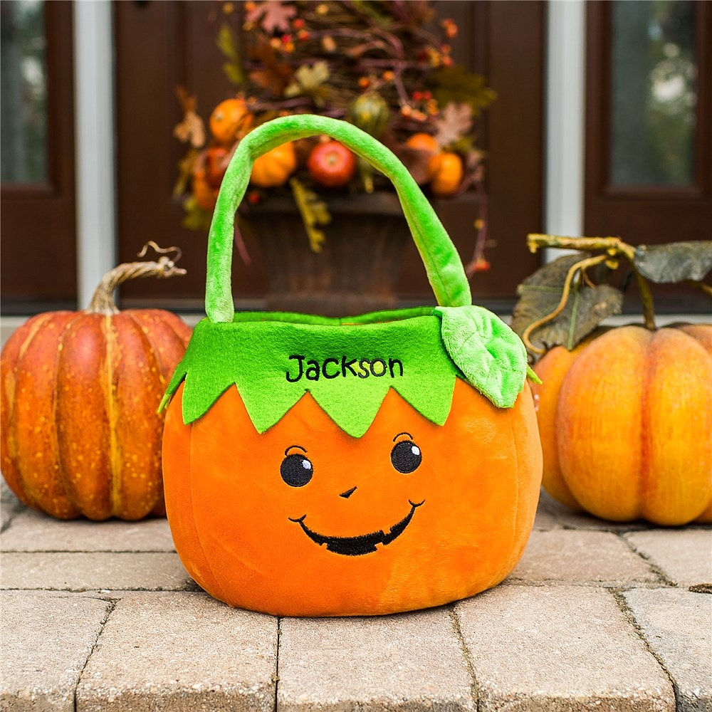 Orange fabric boy pumpkin Halloween trick-or-treat basket personalized with girl name