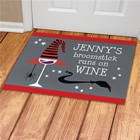 Runs On Wine Halloween floor mat personalized with custom name