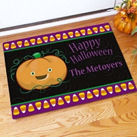 Candy corns and pumpkin happy Halloween doormat personalized with family name