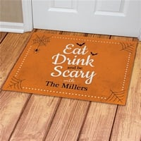 Eat, drink and be scary Halloween doormat personalized with family name