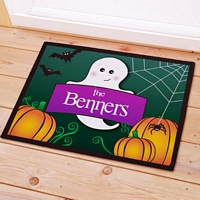 Friendly ghost with pumpkins Halloween doormat personalized with family name