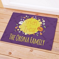 Full moon trick-or-treat Halloween doormat personalized with family name