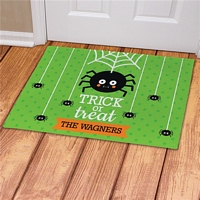 Trick-or-treat spider Halloween doormat decoration personalized with family name