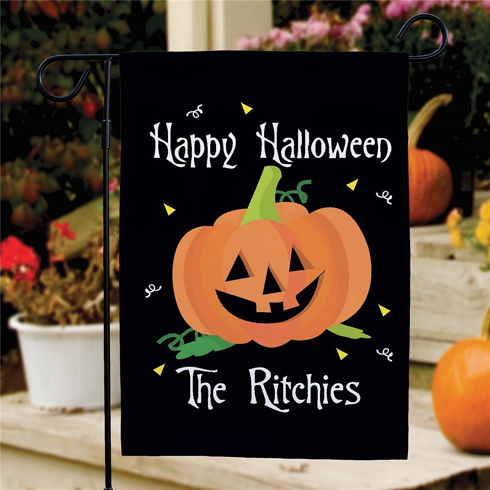 Happy Halloween jack-o-lantern garden flag personalized with family name