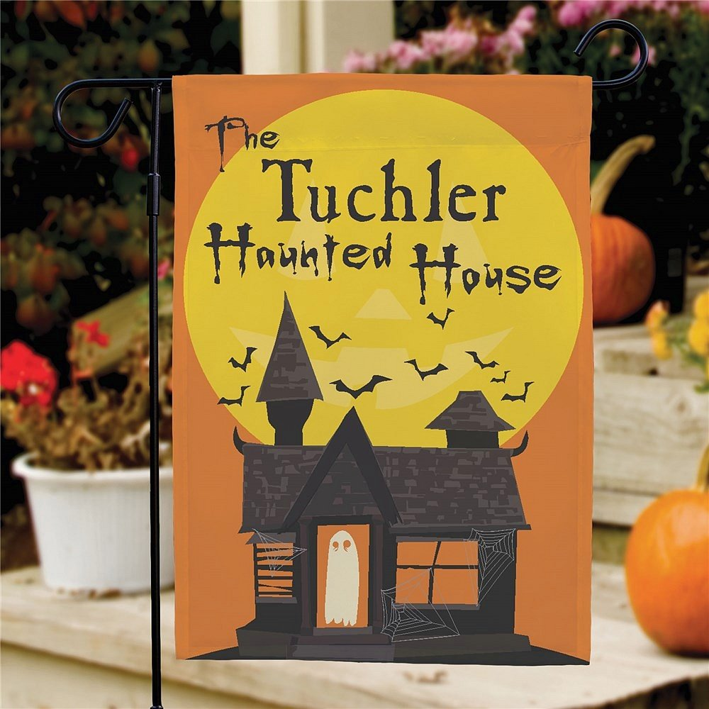 Haunted house Halloween yard flag personalized with family name