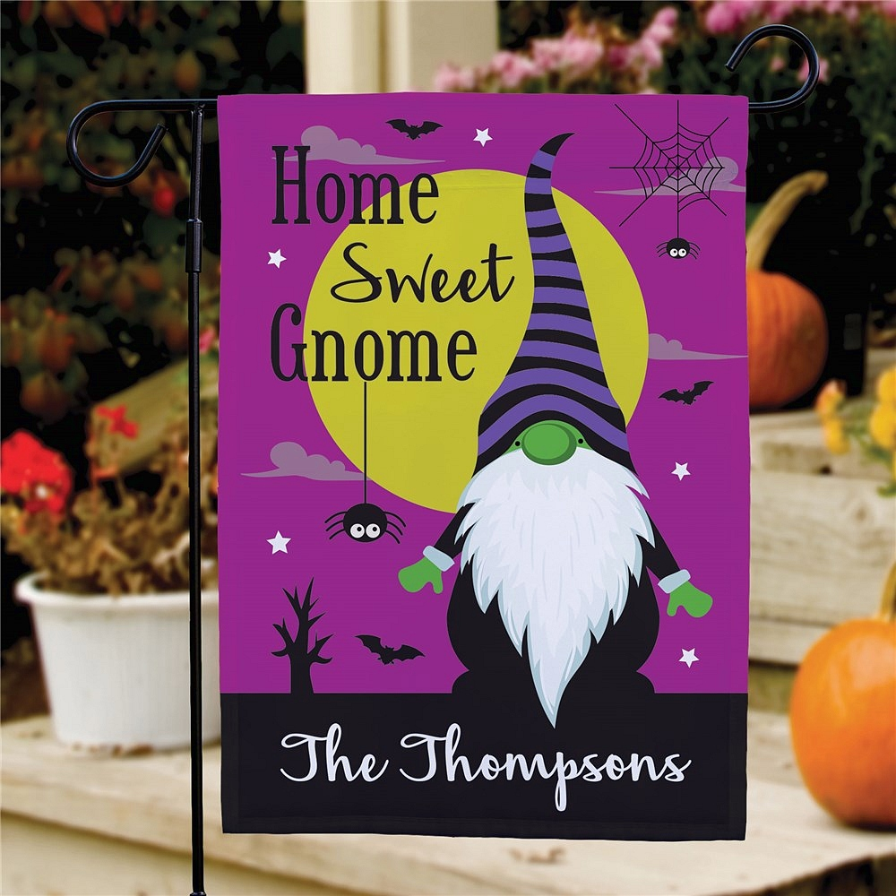 Home Sweet Gnome yard flag Halloween decoration personalized with family name