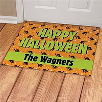 Orange Happy Halloween floor mat with black cats pattern personalized with family name