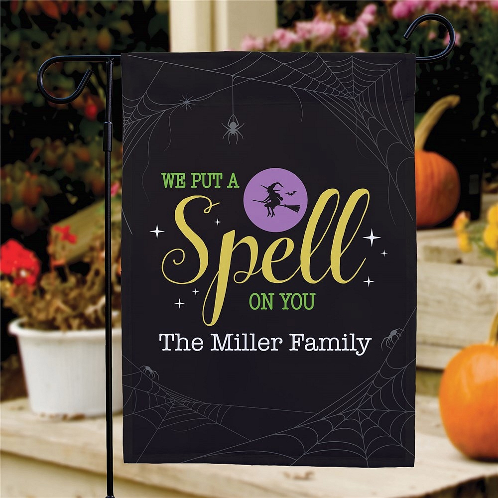 Put a spell on you yard flag Halloween decoration personalized with custom name