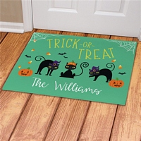Trick or Treat Cats Halloween floor mat personalized with family name