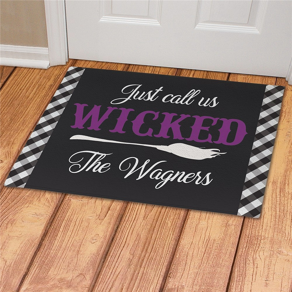 Wicked Halloween doormat personalized with choice of individual or family name