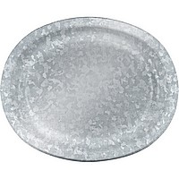Disposable galvanized-look extra large oval platter plates