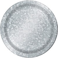 Disposable galvanized-look cake and appetizer foil plates