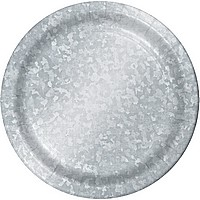 Disposable galvanized-look dinner foil plates