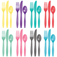 Cutlery sets containing colored plastic forks, spoons, and knives