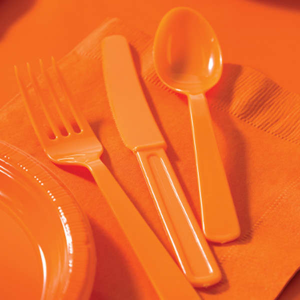 Sunkissed orange cutlery set containing colored plastic fork, spoon, and knife